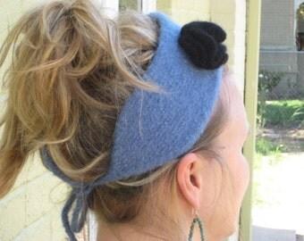 Knit Felted Headband AND Flower Pattern PDF - Kiwi and Company's Sweet Pea Knit Headband - EASY
