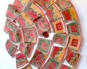 Mosaic China Tiles - salmon, apricot, cocoa and sage geometrics and swirls, DESERT SUNSET