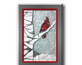 Print - Cardinal on a Birch Tree from Original Mixed Media Mosaic, PERCH ON A BIRCH