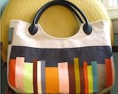 largish linen purse (with faux leather handles)