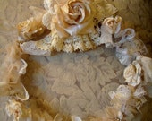 Romantic,shabby,rhinestone,creamy,fabric,vintage rose,wreath