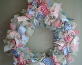 Shabby,cottage,starfish,shell,fabric,wreath