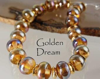 10 Golden Dream Aurae Rose,  handmade glass beads, gold on pale rose by Beadfairy Lampwork, SRA
