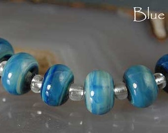 Blue Chagall, 8 handmade glass beads, special effect blue by Beadfairy Lampwork, SRA