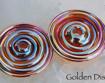 Golden Discs,  2 slim discs in metallic gold with pink hues, handmade glass beads, lampwork beads by Beadfairy Lampwork, SRA