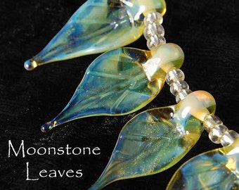 7 Moonstone Leaves Handmade Glass Leaves Lampwork Beads Yellow Blue Mystical Color by Beadfairy Karin Hruza