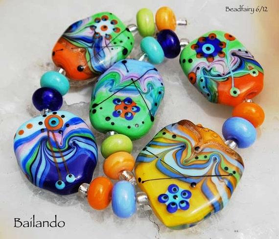 Bailando, 17 colorful handmade lampwork  glass beads,orange, green, blue beads by Beadfairy Lampwork, SRA
