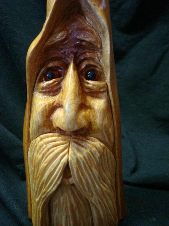 Hand carved cypress knee wood spirit number