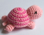 Adorable Tiny Crocheted Pink Turtle Softie