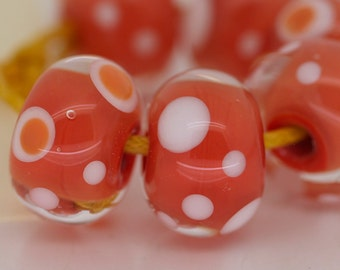 Handmade Lampwork Beads 6 Coral Spots Set