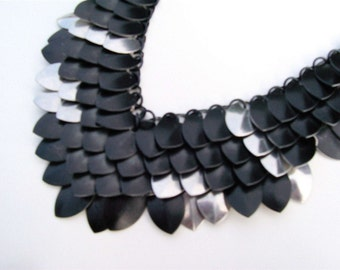Stainless/Black Steel Raven Wings Dragon Scale Necklace