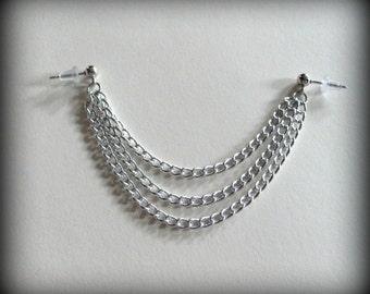 Simple Triple Cartilage Chain Earring