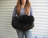 large vintage black fur muff