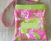 Hipster Bag with adjustable strap - Pink and Lime Floral