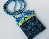 Mini Hipster Gadget, Camera or Passport Case - Cross-Body Strap - Blue Treasure Box and Floralism