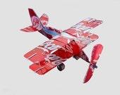 Whirlygig Recycled Aluminum Can Artplane - BIPLANE - Airplane - Coke