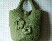 SALE - Molly Bag - Knit, Crochet, Felted, Pistachio Green,