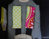 Cute Pink Gypsy Paisley and Lime Dots Car Seat Strap Covers