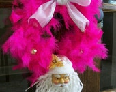 Jingle Bells Christmas Feather Pink Santa Claus Holiday Wreath