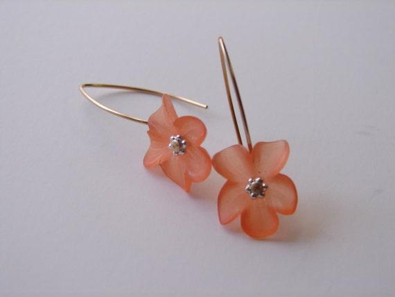 Lucite Flower Earrings - Tangerine Orange Frosted