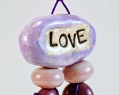 On SALE - Bead Set Purple Love Double Hole Connector