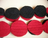 Crisp Red and Blackity Black Felted Circle Scarf