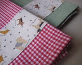 Red Gingham Tea Towel with Cute Dogs