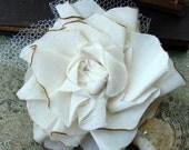 Cotton Rose Fabric Flower Boutonniere - Wedding, Vintage Wedding - Fabric Flower, Fabric Boutonniere, Boutonniere