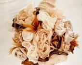 RESERVED Bouquet - Fabric Bouquet, Fabric Flower, Wedding, Vintage Wedding - Tea Stained Cotton Bridal Bouquet Wedding Bouquet