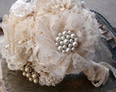 RESERVED Brooch Bridal Bouquet, Jewelry bouquet, Fabric Bouquet - Vintage Wedding