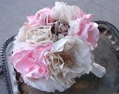 Custom Fabric Flower Bouquet, Vintage Weddings, Handmade Bouquet, Large Flower Bouquet, Custom Colors