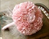 Handmade Bridal Bouquet, Pink Bouquet, Weddings, Vintage Wedding, Fabric Flowers Bouquet, Unique Wedding Bouquet