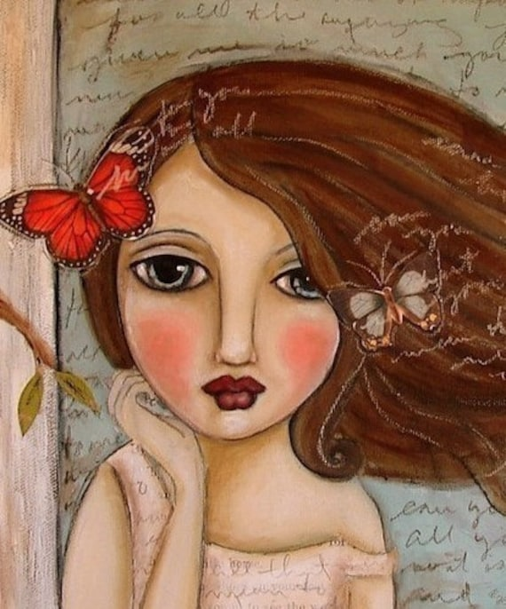 FLUTTER - Girl and Butterflies - 10 inch x 10 inch PRINT by AutumnArt
