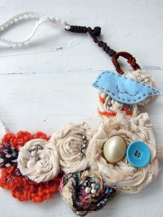 Bird and Blooms -- CUSTOM BIB NECKLACE --  RESERVED FOR SUZE