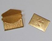 Small Raw Brass Envelope Locket Necklace Pendant with I Love You Postcard or Include Your Own Secret Message