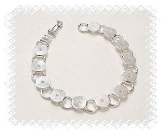 Bracelet Blanks, Bulk Lot of 50 Silver Plated Round Glue On Pad Bracelet Blanks for Glass , Typewriter Keys , Etc.