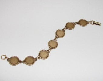 Bracelet Blanks - Matte Brass Ox Link Bracelet Blank with 13mm Round Settings for Glass, Marbles, Resin, Buttons, Etc