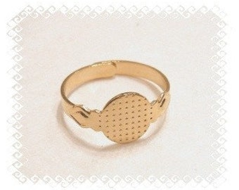 Ring Blanks - Gold Plated STYLE 2 Glue On Pad Adjustable Ring Blanks PACK OF 10