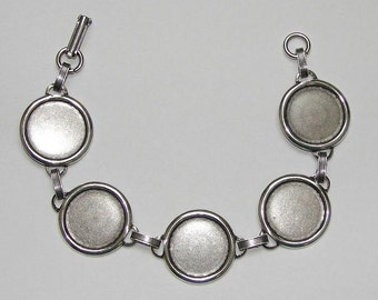 Bracelet Blanks - SHINY Silver Ox Link Bracelet Blank with 18mm Round Settings for Glass, Marbles, Resin, Buttons, Etc