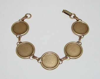 Bracelet Blanks - Matte Brass Ox Link Bracelet Blank with 18mm Round Settings for Glass, Marbles, Resin, Buttons, Etc