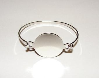 Bracelet Blanks - Shiny Silver Color 1 Inch Round Hinge Top Cuff Bangle Bracelet Blank Base - MEDIUM-LARGE Size
