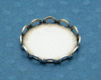 Lace Setting, 12 Silver Ox (Oxidized) Round 15mm Lace Edge Settings Bezels for Glass , Typewriter Keys and More