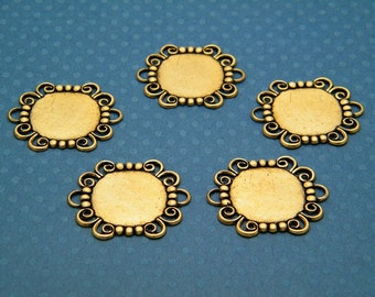Bracelet Blank Links - Lot of 5 Brass Ox (oxidized) Round Filigree Bracelet Links with 18mm Settings