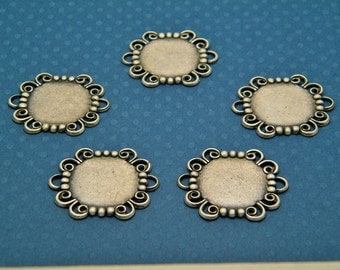 Bracelet Blank Links - Lot of 5 Silver Ox (oxidized) Round Filigree Bracelet Links with 18mm Settings