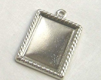 Silver Color Rope Edge Charm Frame Blanks or Pendant Settings PACK OF 10