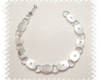 5 Silver Plated Oval Glue On Pad Bracelet Blanks Perfect for Glass Buttons and More