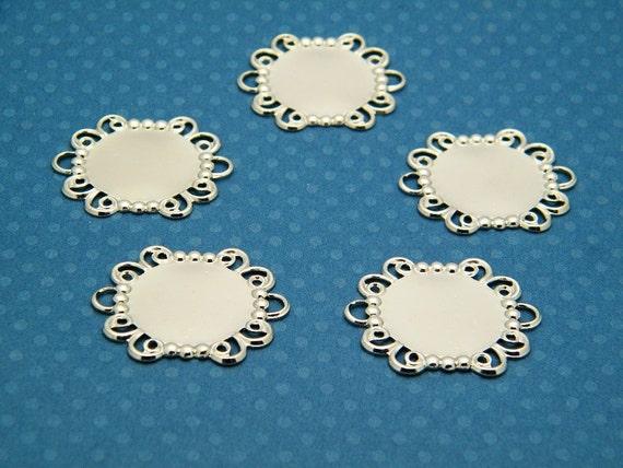 Bracelet Blank Links - Lot of 5 Silver Tone Round Filigree Bracelet Links with 18mm Settings