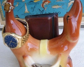 Vintage Dresser Caddy Dog  - A Dashing Dachshund  or a Winsome Weiner Dog Dresser Wallet Caddy 1950s Pottery