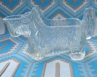 Scottish Terrier Vintage Glass Dish 1940s Scottie Dog Candy Dish Creamer