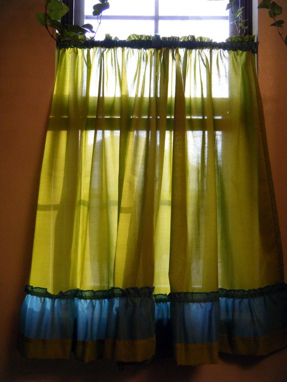 Vintage One Pair Of Curtains Chartreuse And Blue Cotton With